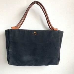 Kate spade black canvas tote with leather straps